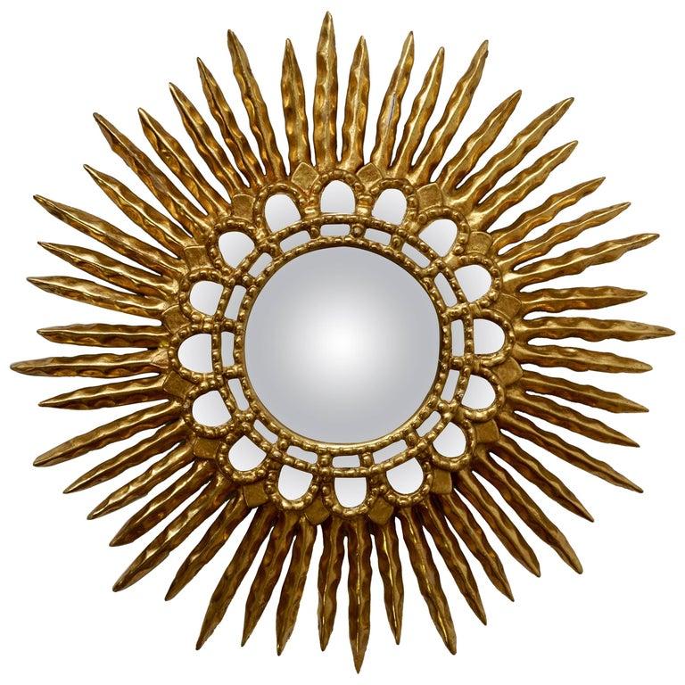 Gold Leaf Giltwood Sunburst Convex Mirror