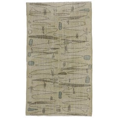 Distressed Turkish Sivas Rug with Industrial Art Deco Style, Muted Colors