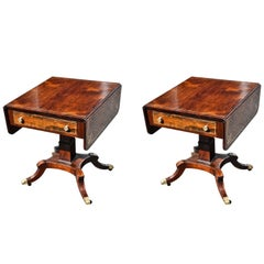 Pair of Regency Style Rosewood and Brass Inlaid End or Sofa Tables