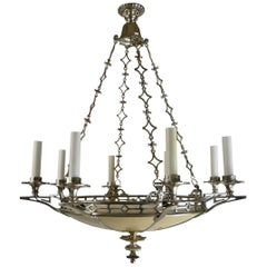Silvered Bronze Regency Style Chandelier by Edward F. Caldwell