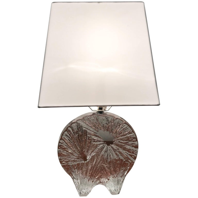Daum Crystal French 1960 Table Lamp For Sale