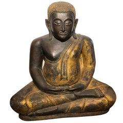 Gold Black Buddha Statue Bronze Thailand