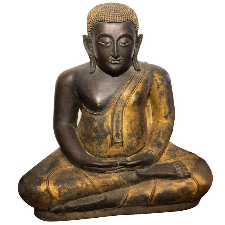 gold black buddha statue bronze thailand for sale at 1stdibs