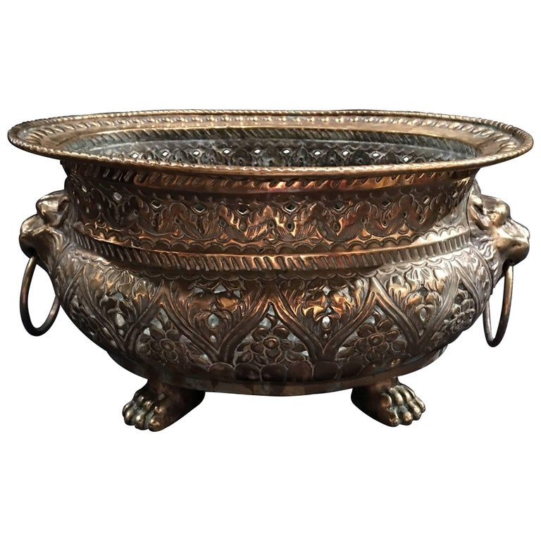 French Brass Reticulated Jardinière or Planter, Lion Ring Handles, 19th Century