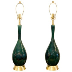 Pair of Blue-Green Drip Glaze and Gilt Royal Haeger Attributed Lamps