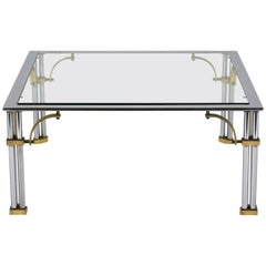 Midcentury Chrome and Brass Square Coffee Table