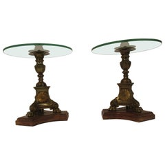 Pair of 19th Century Brass Church Candlestick Side Tables with Glass Tops