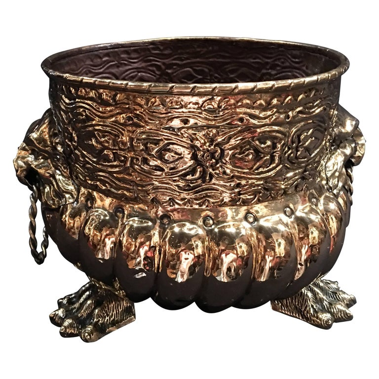 French Polished Brass Round Jardinière or Planter, 19th Century