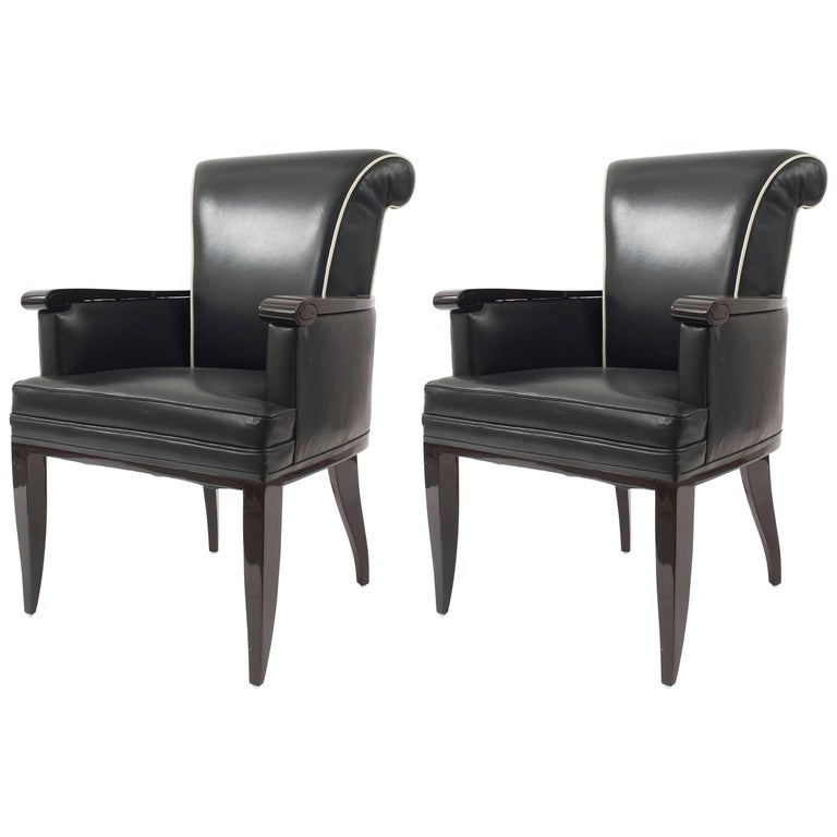 Pair of French Mid-century Bergere Armchairs, by Jean Pascaud