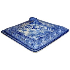 Early 19th Century Blue and White Covered Dish with East Indian Hunt Scene