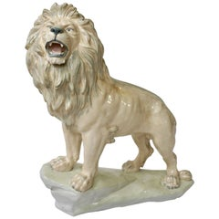 Large White Glazed Pottery Lion Sculpture