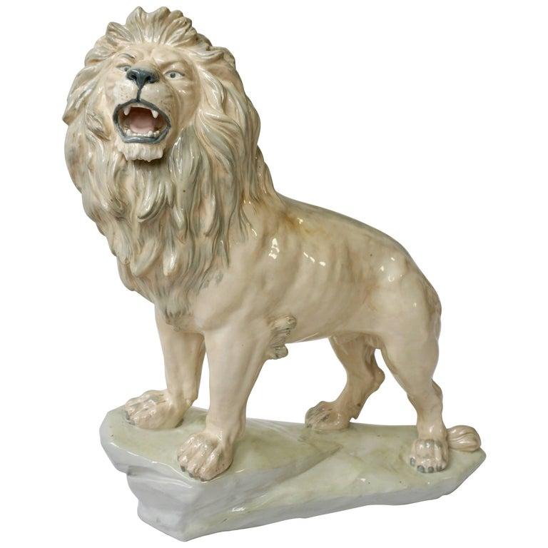 Large White Glazed Pottery Lion Sculpture For Sale