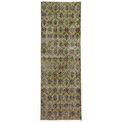Distressed Vintage Turkish Sivas Runner with Rustic French Country Style