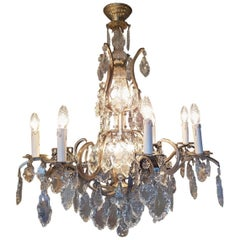 French Chandelier in Silver Color with 12 Lights, Early 1900