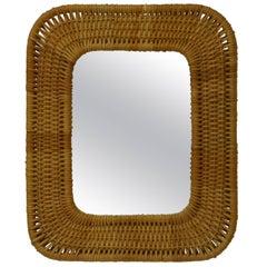 1950s Scandinavian Designed Rattan Mirror