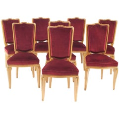 Set of Eight French Midcentury '1938' Sycamore Side Chairs