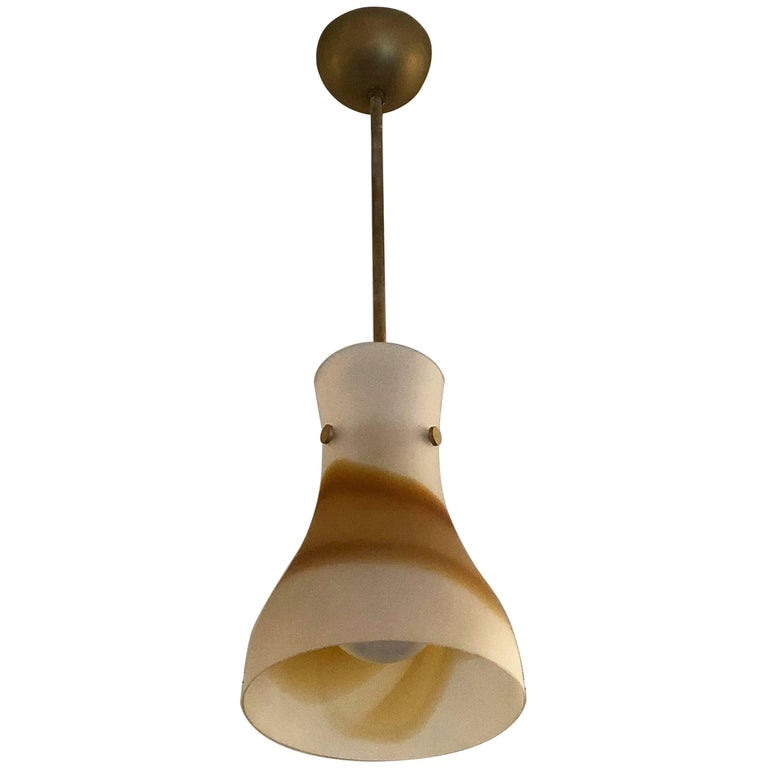 Frosted White and Orange Murano Glass Ceiling Light, Italy, circa 1970