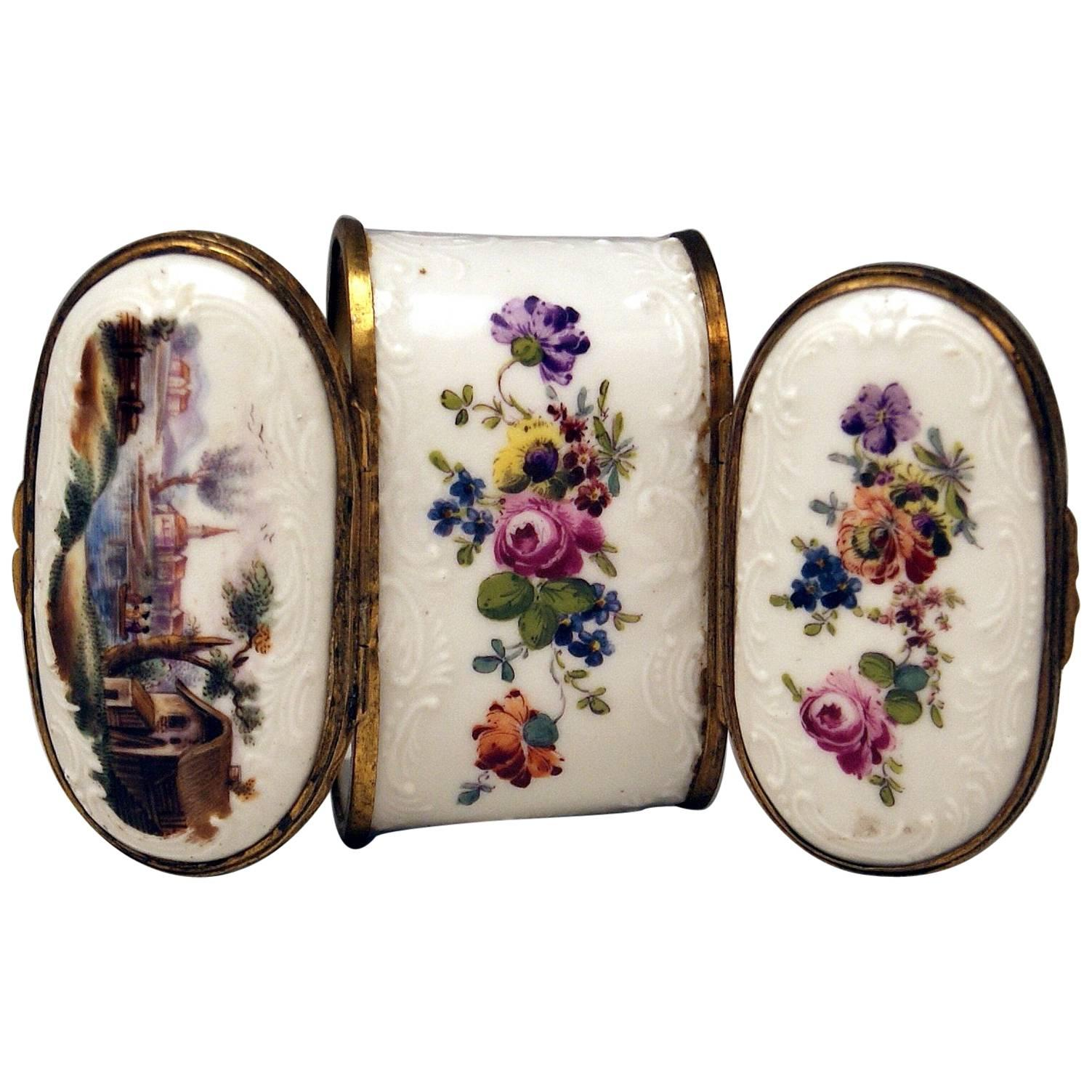 Meissen Painted Dual Lidded Rococo Box Relief Decoration Brass Mountings, 1750