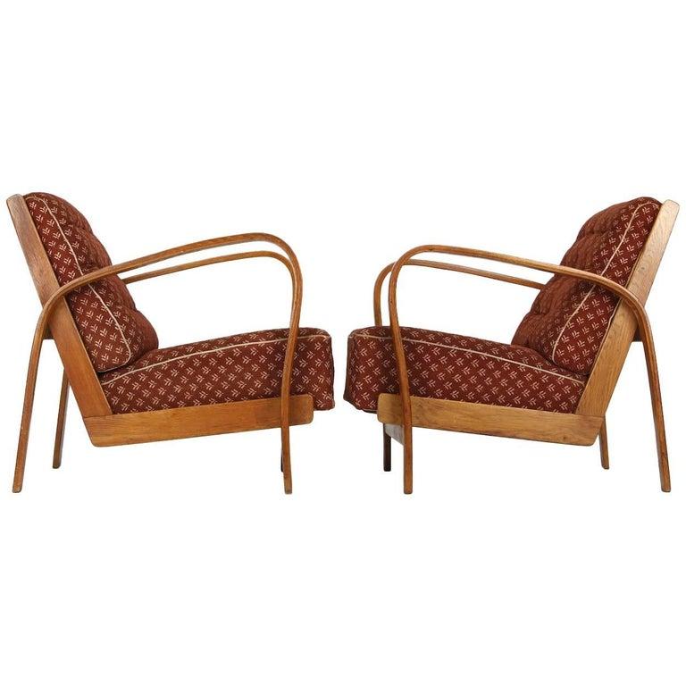 Armchairs in Wood and Fabric, Kropacek & Kuzelka circa 1950 For Sale