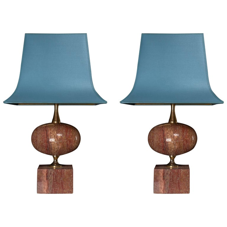 Pair of Midcentury Salmon Pink Marble Table Lamps