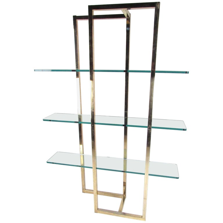 Vintage Modern Brass Étagère Shelf or Shop Display