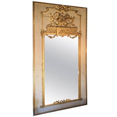 Late 18th Century Louis XVI, Trumeau Carved & Gilded Ancient Mirror, Pierglass