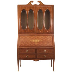 Italian Midcentury Kingwood and Floral Inlaid Trimmed Secretary Cabinet