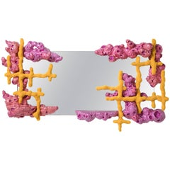 "Chris Schanck, ""Bloom,"" Wall Mirror, Pink, Yellow, Steel, Aluminium, Resin, 2018"