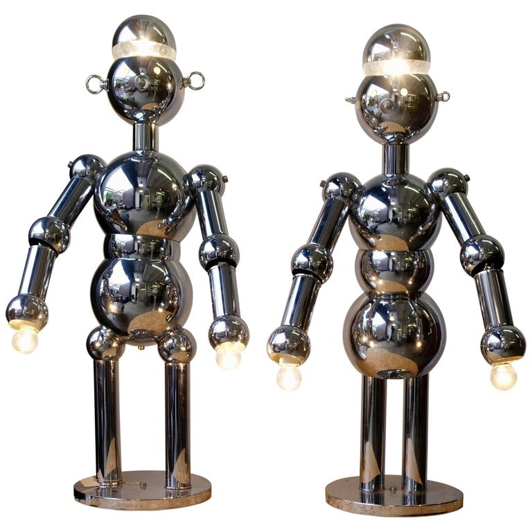 Pair of Lamps, Male and Female Robots, Torino Lamps, Chromed Metal, circa 1980