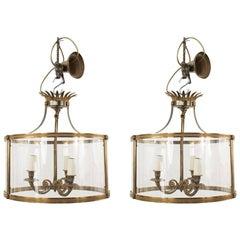 Pair of French Circular Shaped Lanterns, Attrib. Baguès