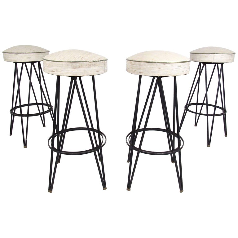 Vintage Swivel Bar Stools With Hairpin Legs After Frederick Weinberg For