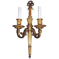 Louis XVI Style Gilt Bronze Wall Light Attributed to E.F Caldwell