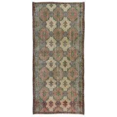 Zeki Muren Distressed Vintage Turkish Sivas Rug with Industrial Art Deco Style