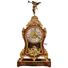 Mid-20th Century French Tortoiseshell and Bronze Boulle Mantel Clock with Base