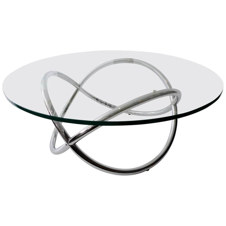 1960s Round Chrome and Glass Knotted Pretzel Twist Cocktail Table For Sale