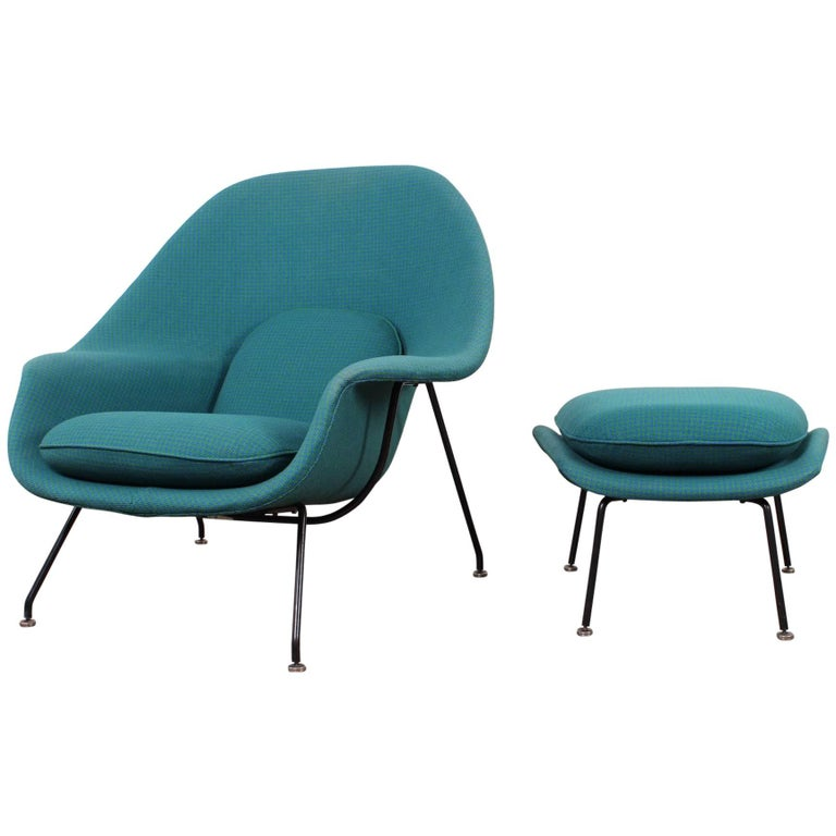 Early Original Womb Chair and Ottoman by Eero Saarinen