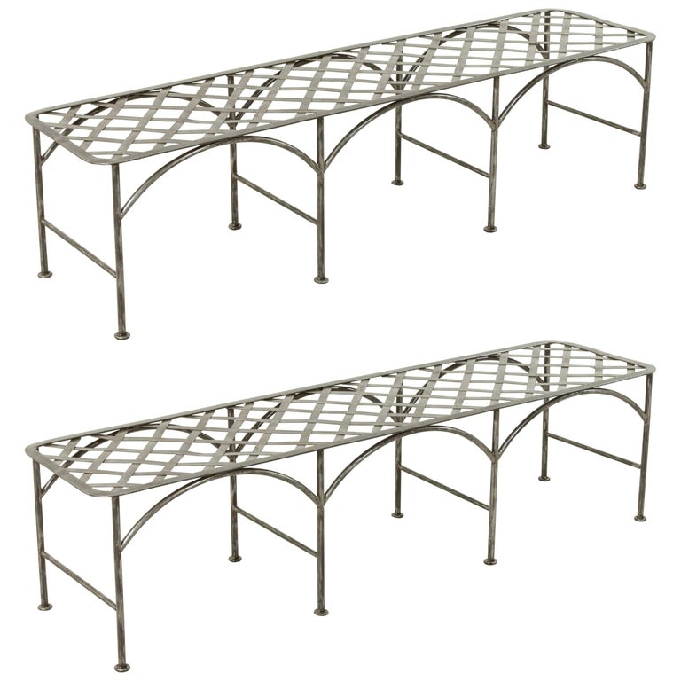 Pair of Midcentury Long French Iron Indoor Outdoor Banquettes or Benches