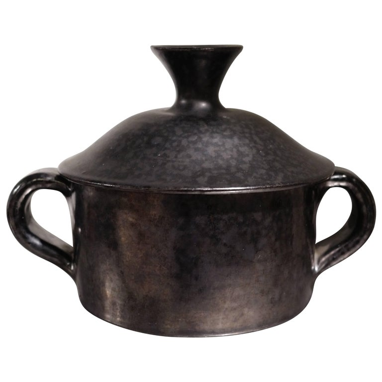 Rare Robert Picault's Sugar Covered Pot, Ceramic Black Glaze, circa 1948