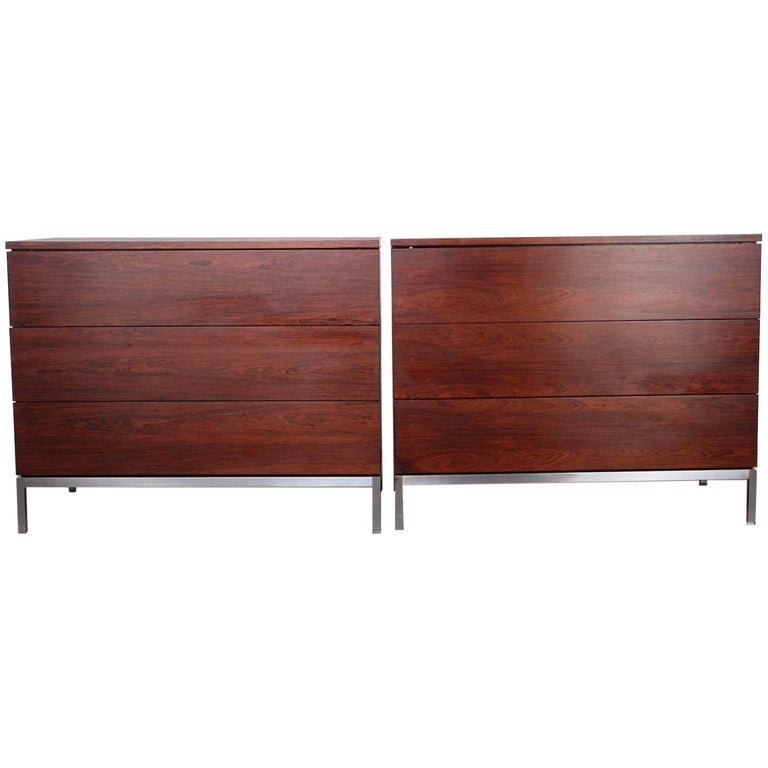 Pair of Rosewood Chests by Florence Knoll For Sale