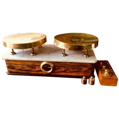 20th Century Italian Marble-Top Balance Scale with Complete Set of Weights