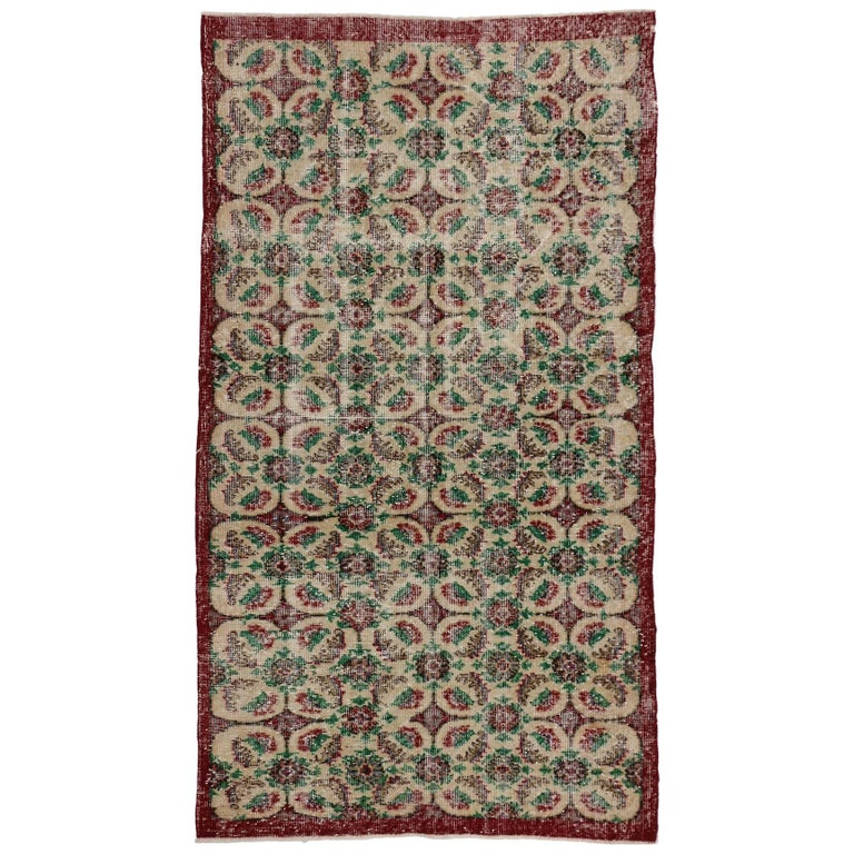 Zeki Muren Vintage Turkish Rug With French Country, Swedish Farmhouse Style For Sale