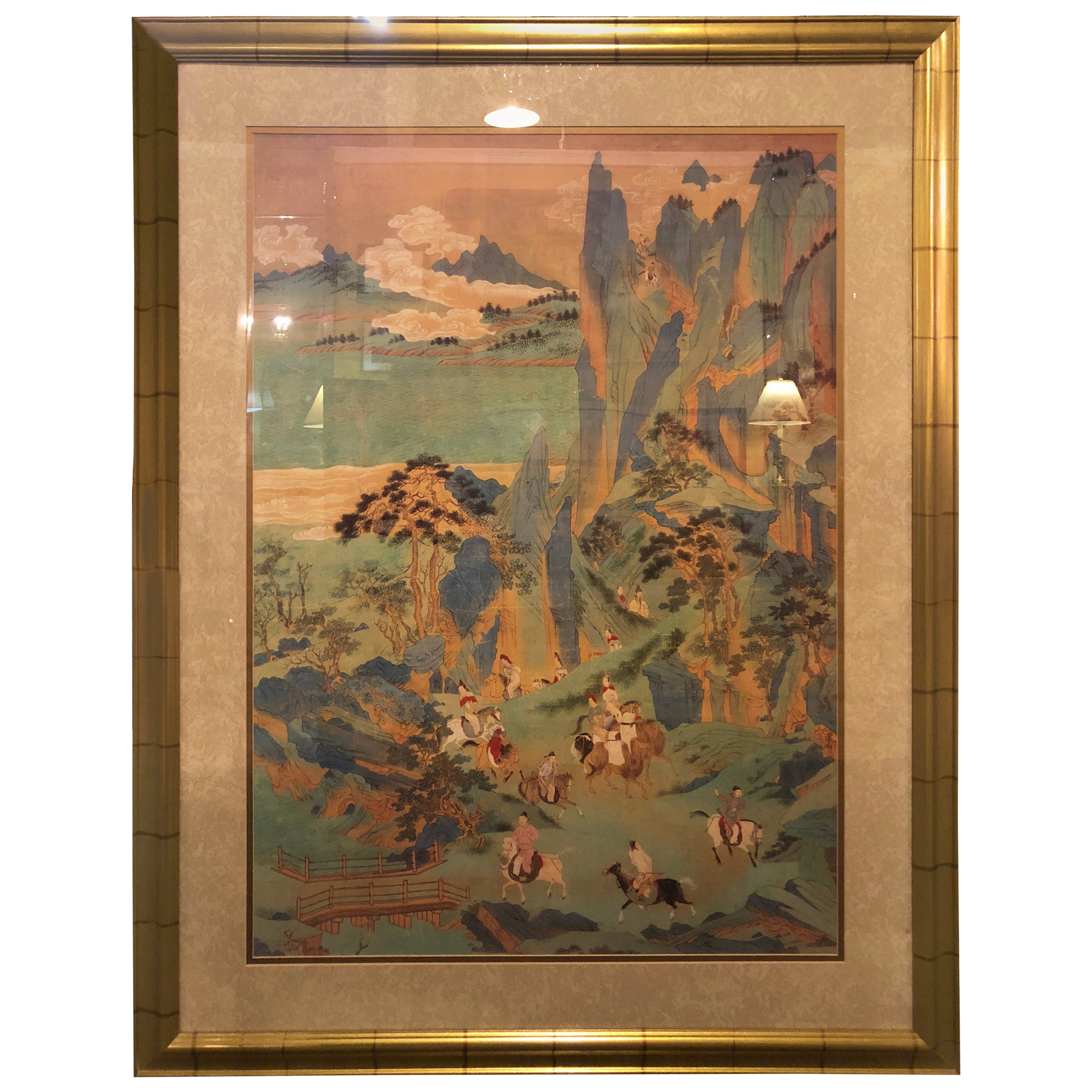 Large Asian Poster Framed and Matted in a Gilt Frame