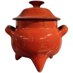 Rare Pierre Rinaudo Red Tripod Tureen, Glazed Ceramic, Vallauris, circa 1950