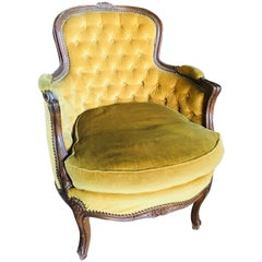 19th Century French Carved Louis XVI Bergere in Yellow Velvet Upholstery