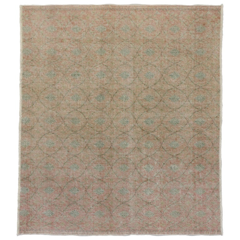 Distressed Vintage Turkish Sivas Rug with Shabby Chic Rustic Farmhouse Style For Sale