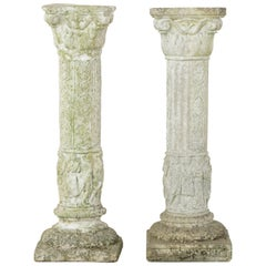 Pair of French Cast Stone Columns or Pillars from a Normandy Garden