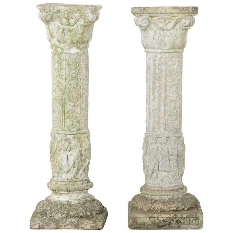 Pair of French Cast Stone Columns or Pillars from a Normandy Garden For Sale
