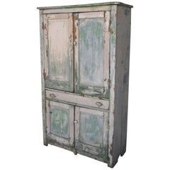 Original Cream over Green Painted 19th Century Cupboard