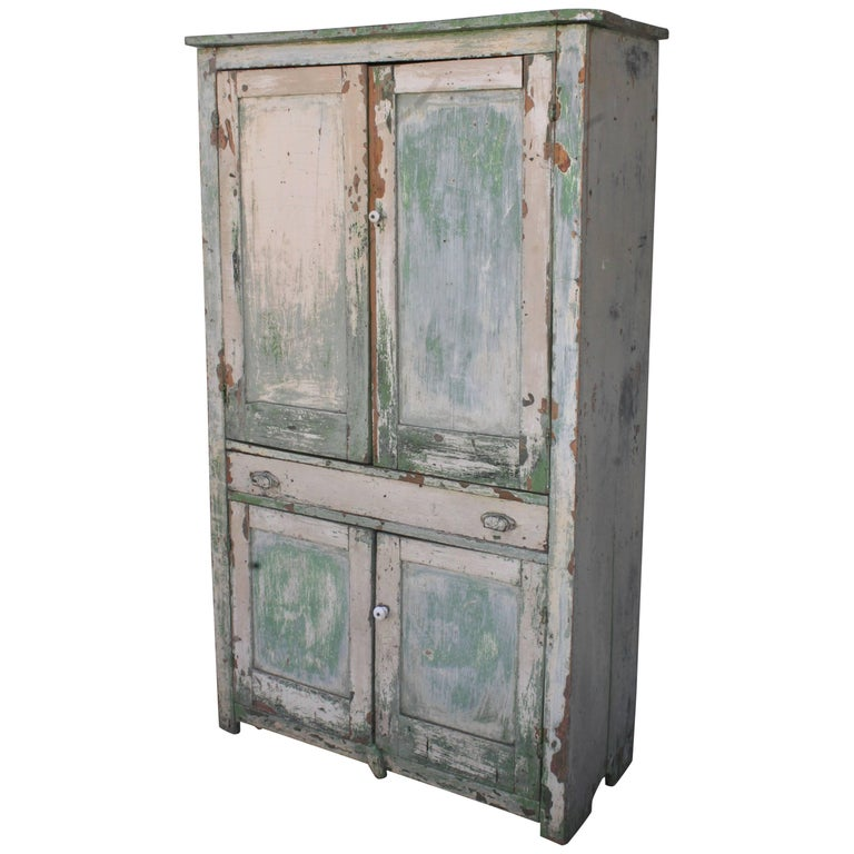 Original Cream over Green Painted 19th Century Cupboard For Sale