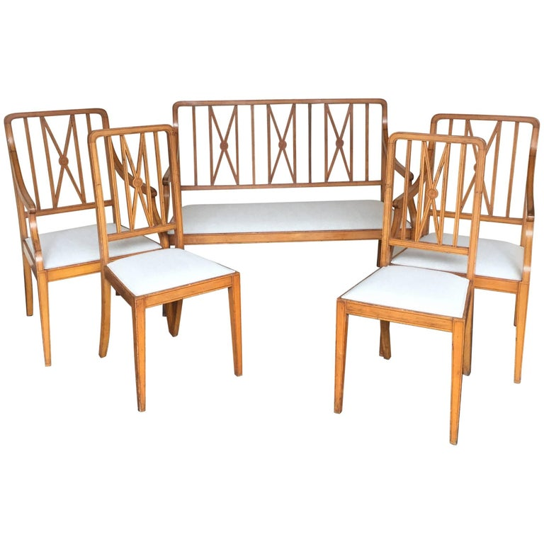 Set of Art Deco Two Armchairs, Two Chairs and One Sofa, circa 1930